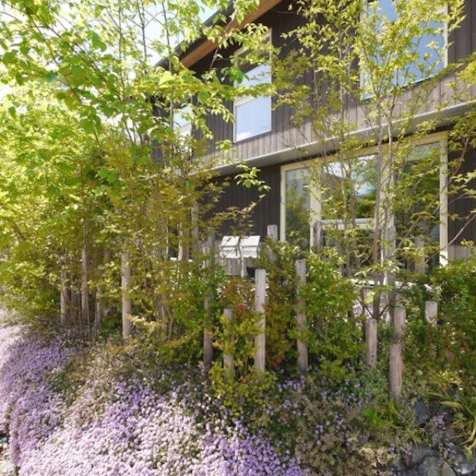 焼杉の家に映える山里風の庭(広島市 こころ M邸)