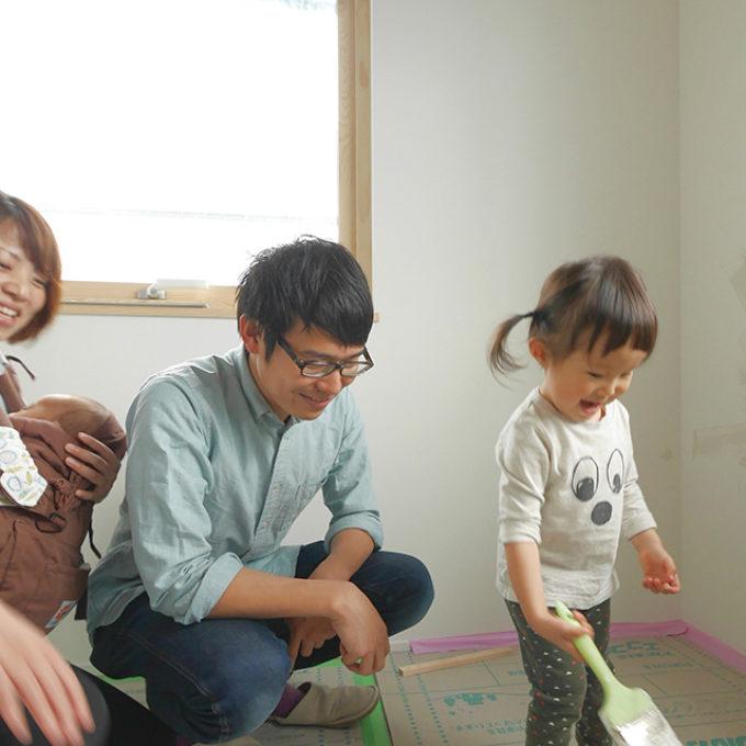 新築途中「塗り壁で思い出づくり」広島市安芸郡